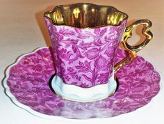 Demi Tasse Teacup and Saucer Set – Pink Floral Pattern China Cups And Saucers, Teapots And Cups, Teacups, Tea Cup Set, Tea Cup Saucer, Pink Coffee Cups, China Tea Sets, Vintage Tea, Vintage Dolls