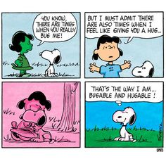 'Hugable and Bugable', Lucy and Snoopy find 'balance'. Snoopy Cartoon, Snoopy Comics, Peanuts Cartoon, Peanuts Snoopy, Peanuts Comics, Snoopy Love, Snoopy And Woodstock, Snoopy Family, Charles Shultz