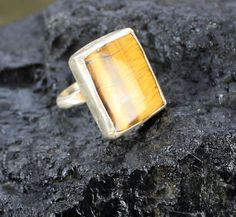 Tiger Eye and Sterling Silver Pirate Ring Size 8 by AeryckdeSade, $50.00