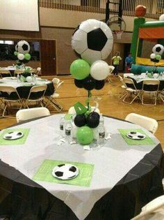 Another view of the soccer centerpieces Soccer Birthday Parties, Football Birthday, Sports Birthday, Soccer Party, Birthday Party Themes, Birthday Ideas, Soccer Centerpieces, Table Decorations, Soccer Baby Showers