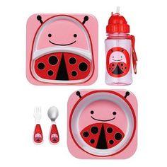 Skip Hop Zoo Plate, Bowl, Straw Bottle and Utensil Set Bundle - Ladybug