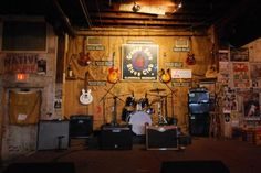 The stage at the Ground Zero Blue Club in Clarksdale, Miss. The club is home to nightly Blues shows and is co-owned by attorney Bill Luckett and actor Morgan Freeman.
