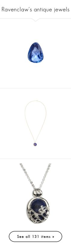 """""""Ravenclaw's antique jewels"""" by infinikey ❤ liked on Polyvore featuring jewelry, pendants, blue gold jewelry, 18 karat gold charms, yellow gold jewelry, 18 karat gold jewelry, 18k jewelry, necklaces, accessories and antique gold jewelry"""
