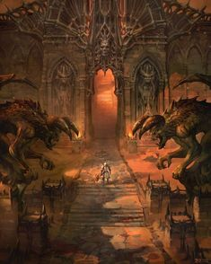personal work by sanghyun kam on ArtStation. Fantasy Places, Fantasy World, Dark Fantasy, Fantasy Landscape, Landscape Art, Dungeons And Dragons, Dark Images, Epic Art, Fantasy Warrior