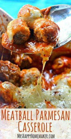 Meatball Parmesan Casserole - Mrs Happy Homemaker