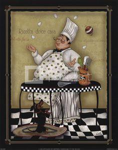 yasminx sewing ideas: decoupage prints for kitchen (mutfak için dekupaj resimleri) Chef Pictures, Kitchen Pictures, Chef Kitchen Decor, Kitchen Art, Whimsical Kitchen, Foto Transfer, Fat Art, Creation Photo, Le Chef