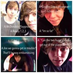 My fav keek I love the voice that Ashton uses, though. It's like, really deep.then the giggle haha, and Luke's just in the back dying because he cant fit his quiff in the entrance hahahaha, ly Luke. 5sos Funny, 5sos Memes, Funny Stuff, Hilarious, Luke And Ashton, Ashton Irwin, 5sos Imagines, 5secondsofsummer, Backgrounds