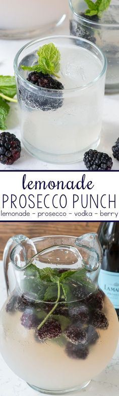 Lemonade Prosecco Punch - this easy cocktail punch comes together in minutes with just 3 main ingredients! It's perfect for a summer party! #cocktailrecipes
