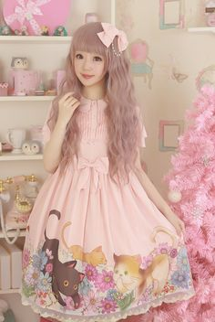 --> Pre-order: MaKiRo ***Countryside Cats*** High Waist Lolita OP Dress --> Super cute countryside cats print, don't you like it? --> Learn More: http://www.my-lolita-dress.com/makiro-countryside-cats-high-waist-lolita-op-dress-mkr-1