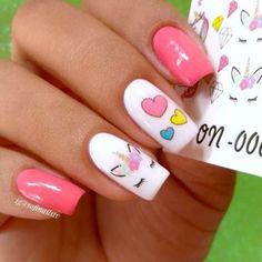 Uñas de Unicornio Best Nail Art - 55 Best Nail Art for 2018 - Fav Nail Art Heart Nail Designs, Acrylic Nail Designs, Acrylic Nails, Nail Art Designs, Gel Nails, Toenails, Disney Nail Designs, Girls Nail Designs, Nail Nail