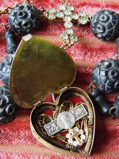 Religious French necklace reliquary mop heart by madonnaenchanted, $229.00
