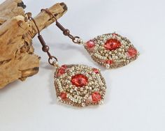 Pale Red Diamond Shaped Bead Earrings  by BeauBellaJewellery #jewelry #earrings #diamond #red #beads #Swarovski #chaton #crystals #handmade #etsy #beaubella