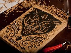 Straw Castle Wolf - Block Carving