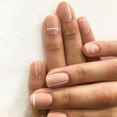 Get Nails, How To Do Nails, Hair And Nails, Neutral Nails, Nude Nails, Pink Nails, Line Nail Designs, Simple Nail Art Designs, Easy Nail Art