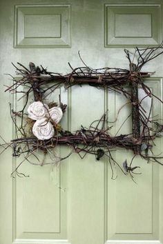 twig wreath no DIY, link-inspiration Paint the first letter of your last name on the door, interchange wreaths as the seasons change for something festive to add to your door! Twig Wreath, Wreath Crafts, Door Wreaths, Stick Wreath, Frame Wreath, Advent Wreath, Wreath Fall, Burlap Wreath, Frame Floral