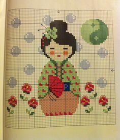 Kokeshi - cross stitch - japanese girl in kimono Cross Stitch For Kids, Cross Stitch Baby, Cross Stitch Charts, Cross Stitching, Cross Stitch Embroidery, Embroidery Patterns, Funny Cross Stitch Patterns, Cross Stitch Designs, Kokeshi Dolls