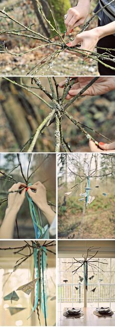 Mobile made with twigs, ribbons, and origami. Use as an alternative to a centerpiece or as a decoration with multiple mobiles. Create the origami to the theme. Paper airplane made from maps is used as the tutorial. Would be a great rustic outdoor decoration, barn event or a way to bring the outdoors indoors.
