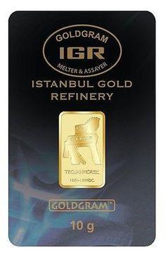 10 GRAM 24 KARAT 999.9 GOLD EMBOSSED TROJAN HORSE IGR BULLION BAR