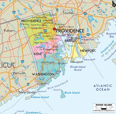 Map of State of Rhode Island, with outline of the state cities, towns and counties. State roads connections very clearly shown.