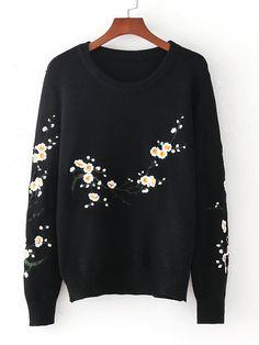 Loser Pullover mit Blumen Stickereien - German SheIn(Sheinside) Loose  Strickjacke, Langarm Pullover 797d05a447