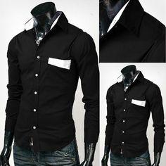 Mens Black Shirts Men Luxury Shirt Men Dress Clothing Fashion ...