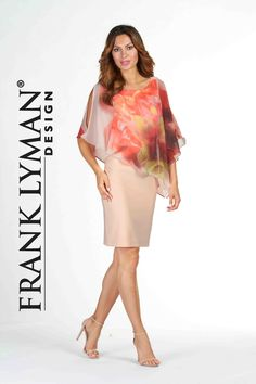 Stunning special occasion dress with flattering printed chiffon overlay. Great Fit. Proudly Made In Canada