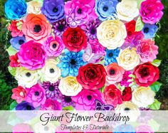 Plantillas de flores de papel flores - flor fondo - gigante y tutoriales imprimibles flor plantillas flores pared