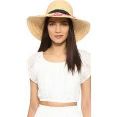 Kate Spade New York Embroidered Lovely Sunhat ($89) ❤ liked on Polyvore featuring accessories, hats, natural, floppy hat, beach hat, raffia sun hat, floppy sun hat and raffia hat
