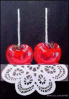 """""""Candy Apples for Two"""" - Original Fine Art for Sale - © Patricia Ann Rizzo  http://dailypaintworks.com/fineart/patricia-ann-rizzo/candy-apples-for-two/148141"""