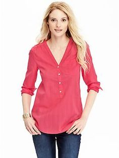 Women's Dobby-Stripe Pullovers | Old Navy - not a nursing top but buttons could make it breastfeeding friendly