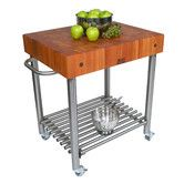 Cucina Americana Kitchen Cart with Butcher Block Top  $1430.00