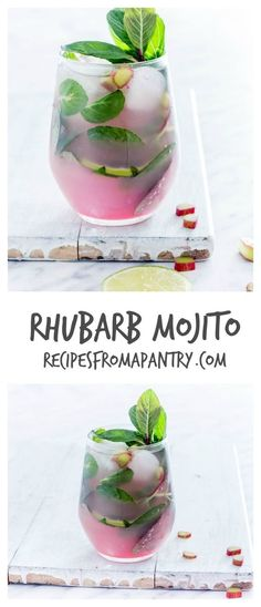 Rhubarb Mojito -This refreshing and simple rhubarb mojito recipe is made with 5 ingredients - rhubarb syrup, mint, lime, white rum and soda water. | recipesfromapantry.com.