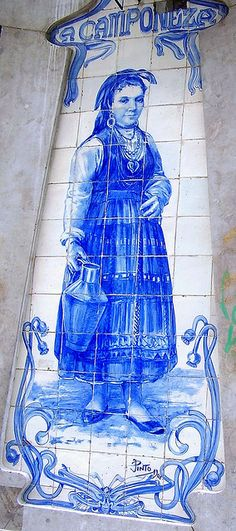Leitaria A Camponesa Lisboa, Azulejo, Portuguese Tiles. I would love this somewhere on my property. Portuguese Culture, Portuguese Tiles, Tile Art, Mosaic Tiles, Blue Tiles, Spain And Portugal, Folk, Delft, My Favorite Color