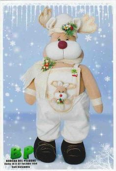 Imágen: Molde reno con oberol Indoor Christmas Decorations, Christmas Swags, Christmas Sewing, Christmas Deer, Felt Christmas, Handmade Christmas, Christmas Projects, Christmas Crafts, Christmas Ornaments