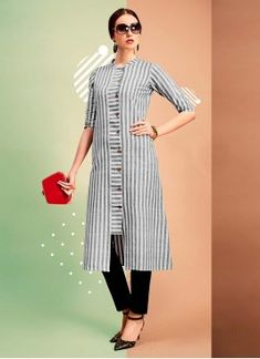 Be your own style icon with soothing grey color party wear cotton kurti. You can see some fascinating patterns done with printed work.like the idea of an inserted panel for buttons Kurti Sleeves Design, Kurta Neck Design, Sleeves Designs For Dresses, Dress Neck Designs, Blouse Designs, Simple Kurti Designs, Salwar Designs, Kurta Designs Women, Kurti Designs Party Wear