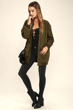The Light Beam Olive Green Oversized Bomber Jacket will keep you perfectly on-trend! This classic bomber has a chic upgrade with an oversized fit and a canvas construction. Green Bomber Jacket Outfit, Olive Jacket Outfit, Long Bomber Jacket, Jacket Style, Casual Wear Women, Classic Outfits, Outerwear Jackets, Fashion Outfits, Women's Fashion