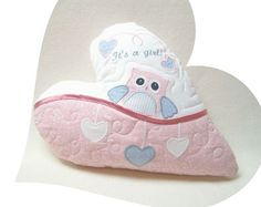 Its a  girl  Personalized Baby Pillow  New by Customquiltsbyeva, $50.00