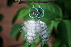 Blue Green and Lilac Striped Dream Catcher by nZuriArtDesigns