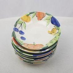 Bella-Ceramica-034-Bravissimo-034-Set-of-8-Soup-Bowls-8-034-Fruit-Mushroom-Hand-Painted
