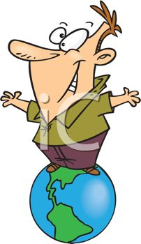 iCLIPART - Royalty Free Clipart Image of a Man on Top of The World