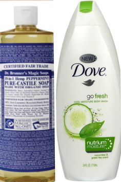 Invigorating body wash! Add 1/4 cup of Dr Bonner's peppermint soap to a fresh bottle of Dove body wash, shake and enjoy you new cooling body wash. Perfect for mid day summer showers!