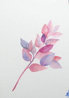 aquarelle originale,aquarelle feuilles,carte aquarelle,decor floral,aquarelle branche,peinture nature,aqurelle rouge,carte a personnaliser