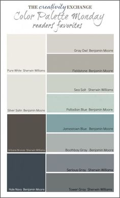 Readers' Favorite Paint Colors {Color Palette Monday} I hope you guys had a fantastic weekend and a great of July! This week for Color Palette Monday, I've pulled a palette together of readers' favorite paint colors from feedback over the last 12 week Interior Paint Colors, Paint Colors For Home, Paint Colours, Modern Paint Colors, Neutral Paint, Interior Design, Gray Paint, Paint Colors For Living Room Popular, Paint Colors With White Trim