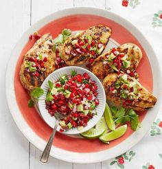 Hmmm.. sooo yummy will be this Chili-Garlic Grilled Chicken with Avocado-Cherry Salsa. Grilled chicken gets a lift with this flavor-packed marinade and fresh, fruity salsa. Cherish yourself with this amazing and unique recipe that has an awesome flavor combined with cherries, shallot, jalapeño, cilantro, and lime juice.