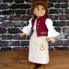 Victorian Steampunk American Girl Doll Clothes Blouse, Vest, Riding Skirt