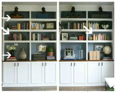 how to decorate bookshelves. love these built ins
