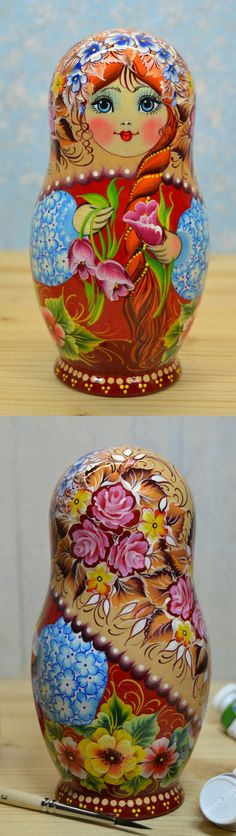 Wooden matryoshka doll in floral decor, hand painted by artist Nelly Marchenko. Find more beautiful russian nesting dolls at: www.bestrussiandolls.etsy.com