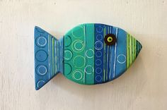 Blue Painted Wooden Fish Beach Lake Coastal Wall Hanging Art Decor