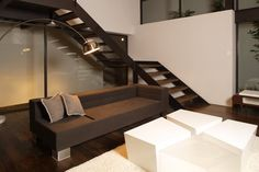 Located near the Lago de Guadalupe in Cuautitlan-Izcalli, where the urban aspect of greater Mexico City begins to fade, this house has an. Minimalist Interior, Minimalist Living, Living Room Interior, Living Rooms, Modern House Design, Furniture Design, Stairs, Interior Design, Architecture