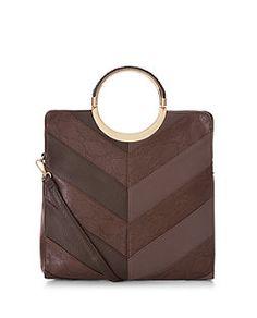 Brown Patchwork Round Metal Handle Shopper Bag  | New Look